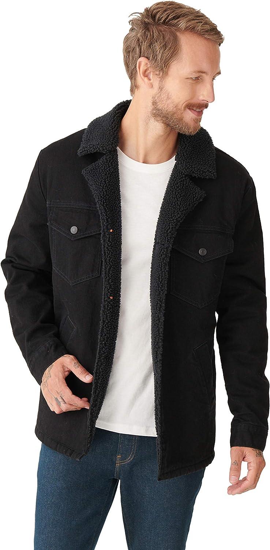 Lucky Brand Men's Long Sleeve Button Down Ranch Sherpa Coat