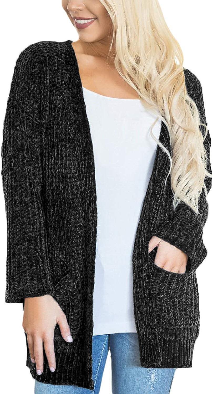 FARYSAYS Women's Open Front Long Sleeve Cardigans Sweater Outerwear Pocket