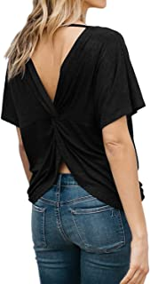 Women's Backless Short Sleeve Top Sexy Modal Open Back Knotted T-Shirt Yoga Tops