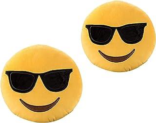 ML Pack de 2 Cojines Emoticonos Cojín Almohada Redonda Emoticon Peluche Bordado con giño 35x35x5cm Cada uno Gafas