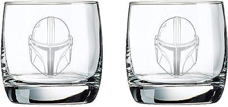 The Mandalorian Glass Set (Helmets) - 10 oz Capacity - Glasses 2-Pack - Star Wars Design - Heavy Base