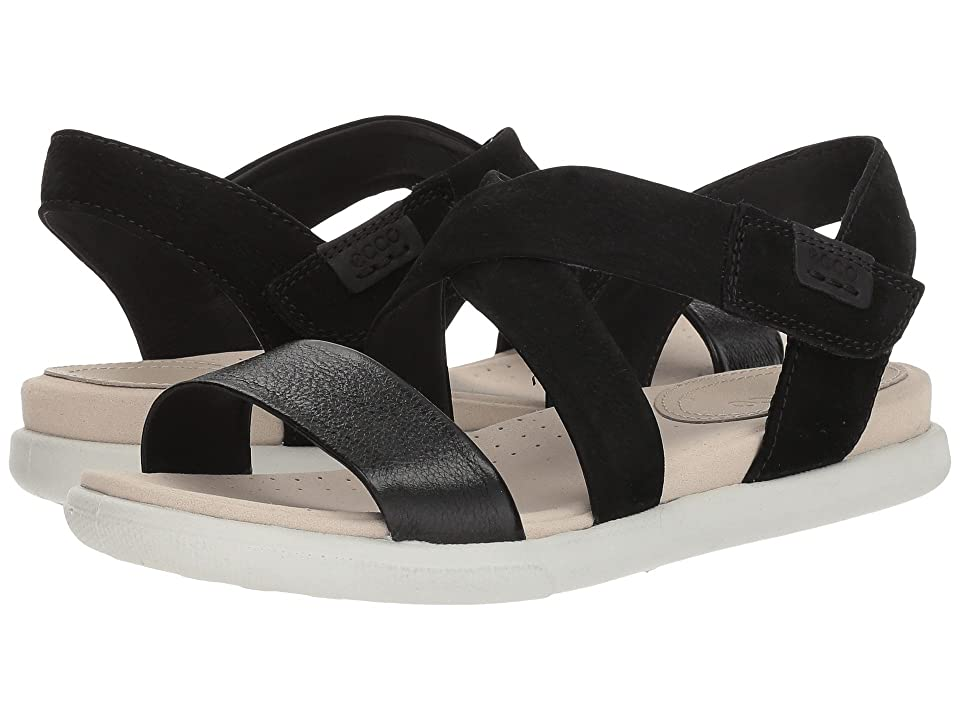 ECCO Damara Crisscross Sandal (Black/Black Leather/Cow Nubuck) Women