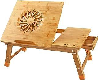 NNEWVANTE Mesa de Cama para Portátil Mesa Plegable Desayuno Cama, Ventilador de Enfriamiento, Adjustable Escritorio Ordenador Portatil con Cajón, Bambú 55 * 35cm