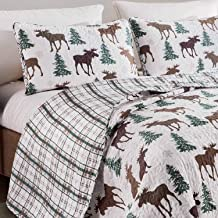 3-Piece Outdoors Pine Trees Print Moose Quilt Set King Size Rustic-Themed Wilderness Bedding Reversible Cover to Green Brown White Plaid Pattern