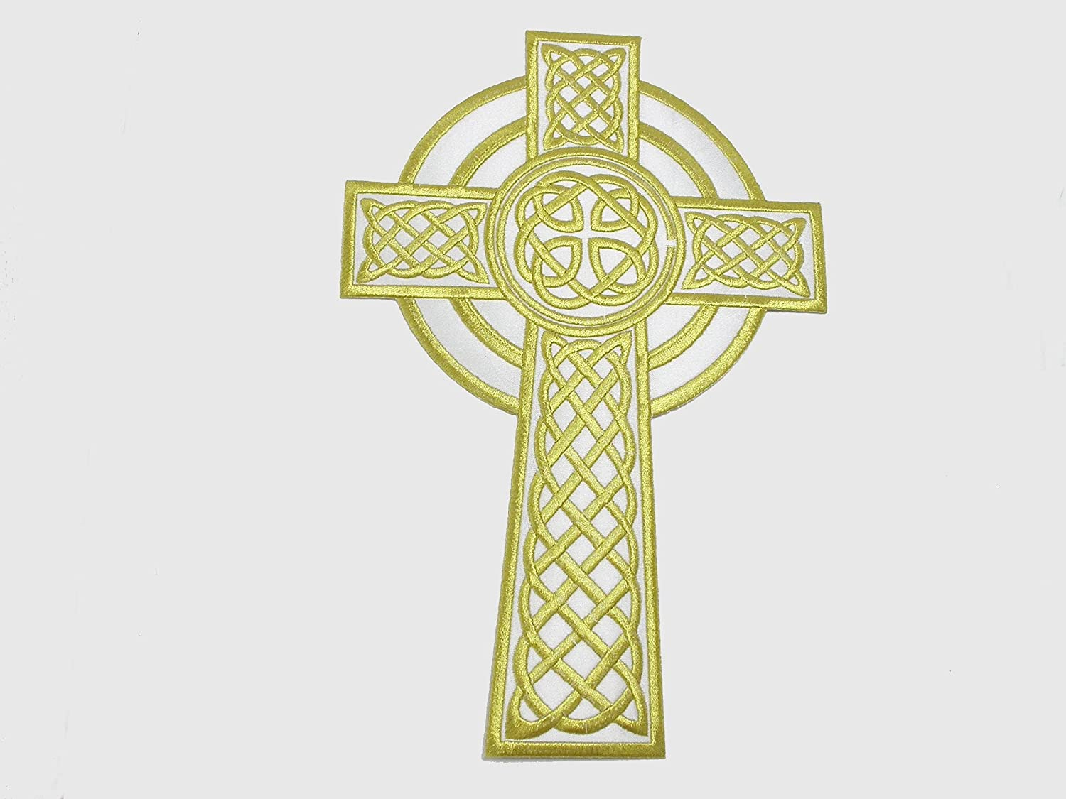 Iron On Patch Applique - Celtic Cross 7 Ultra-Cheap Deals 4' 12'' 3 x White Seattle Mall Gold