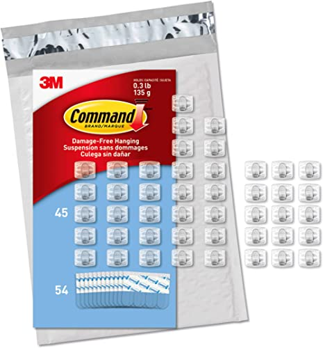 command CL806-45NA Clear Mini Light Clips, 54 Strips (Easy to Open Packaging), 45 Clips, Clear