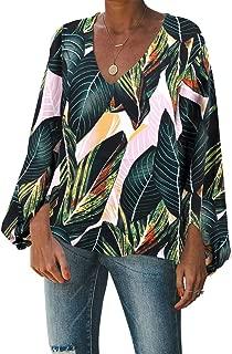 BELONGSCI Women's Casual Sweet & Cute Loose Shirt Balloon Sleeve V-Neck Blouse Top