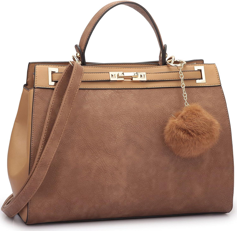 2 Tone Large Satchel Handbag Designer Top Handle Purse Fashion Shoulder Bag
