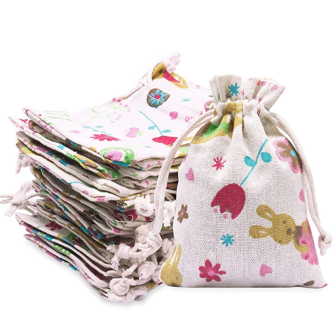Vovii 24 Pcs Burlap Bags Flower Rabbit Pattern with Drawstring,Perfect Burlap Gift Bags for Jewelry Wedding Party Candy Favor Pouch, 3.5 x 5.0 Inch
