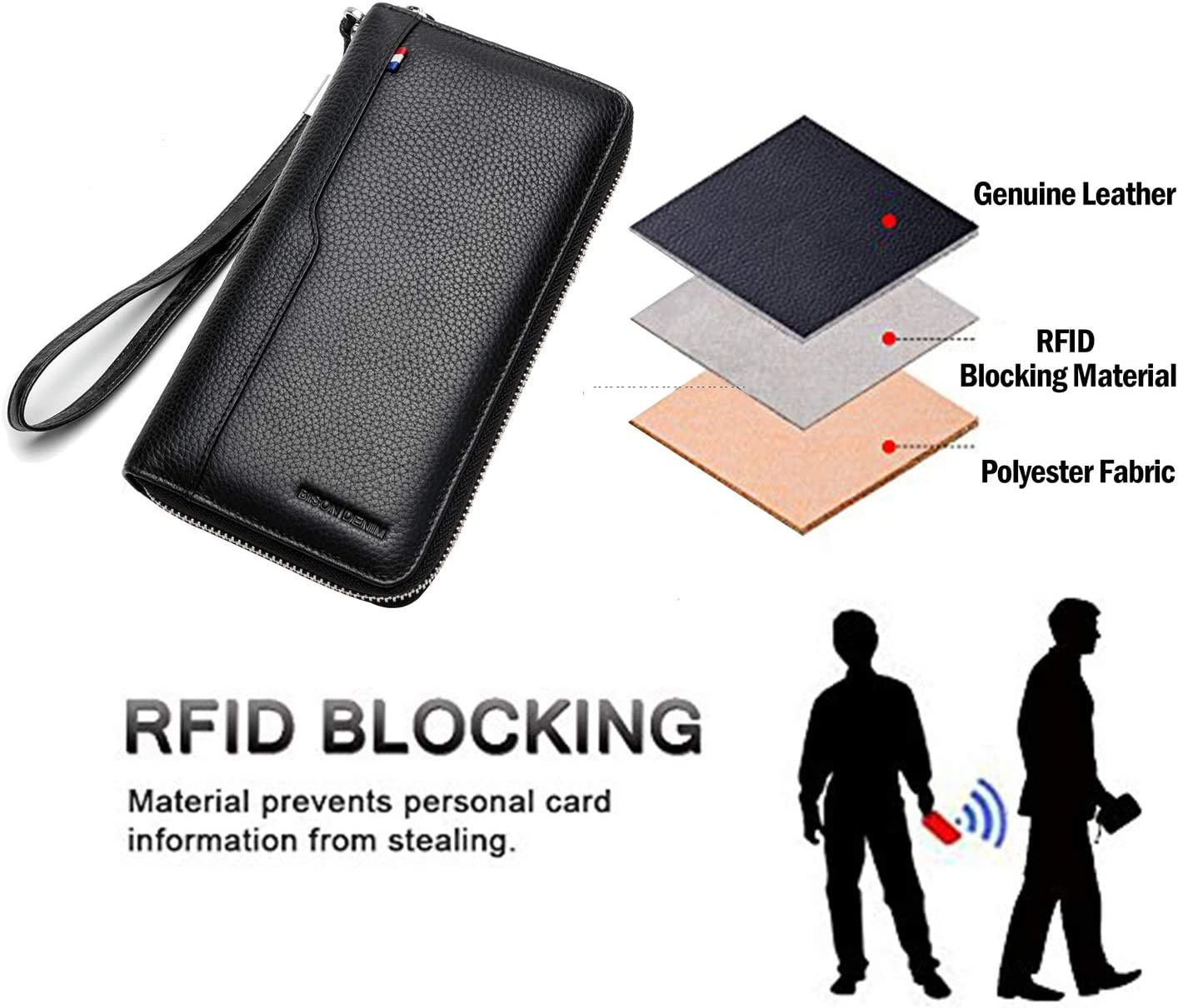 BISON DENIM Mens Credit Card Wallet Long Wallet Genuine Leather Billfold Zip Around Checkbook Wallet 18 Credit Card Slots