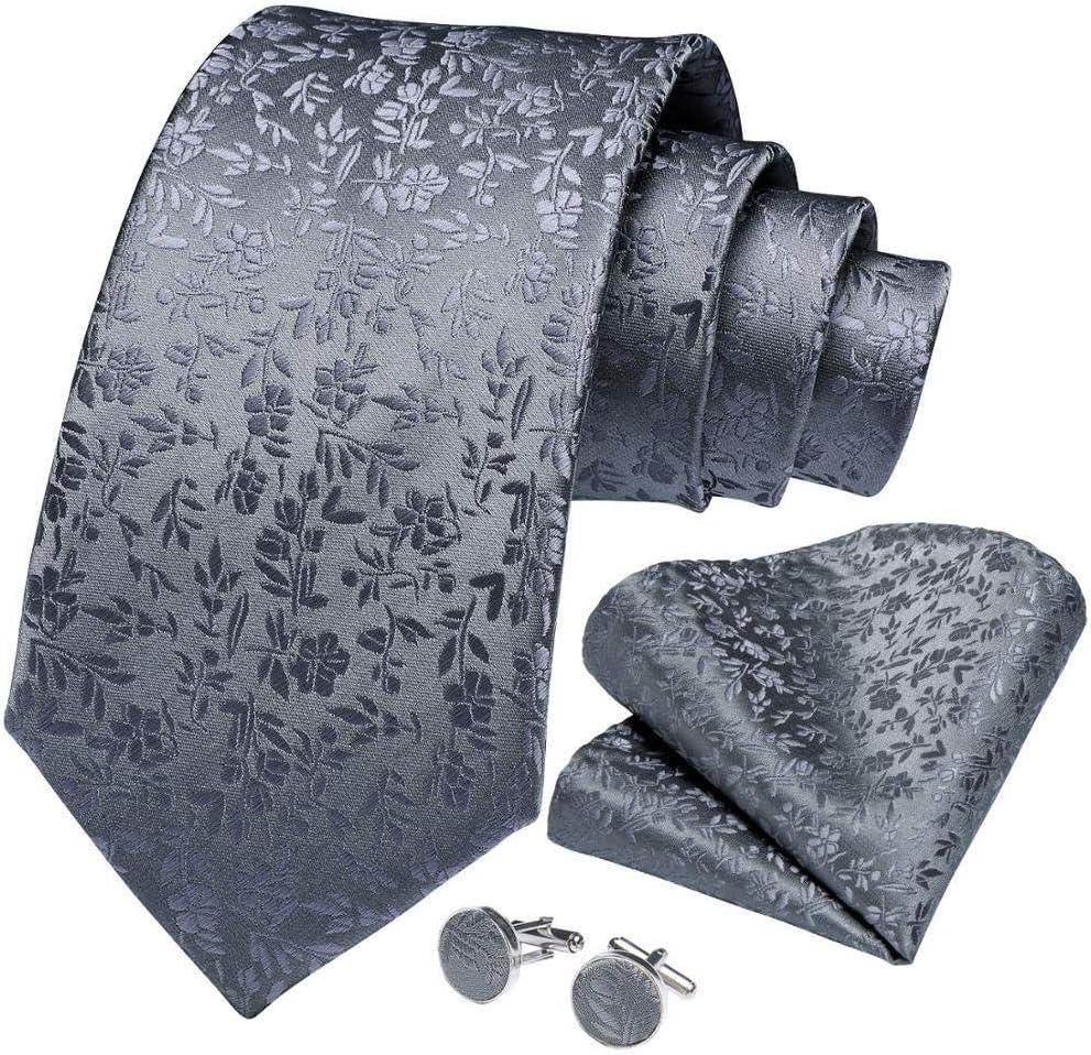JIEIIFAFH Men Tie Gray Solid Floral Silk Wedding Tie Compatible with Men Hanky Cufflinks Business Gift Tie Set Compatible with Men