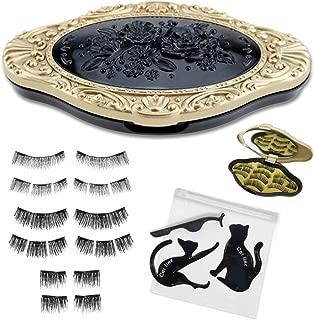 2018 DIVA EDITION - All in one 3 Styles 12 Pcs Premium Magnetic Eyelashes in Elegant Mirror Case plus Free Eyelash Applicator