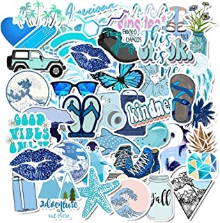 AKEROCK 50 Packs Cute Nature VSCO Stickers for Water Bottles and Laptops, Aesthetic Trendy Waterproof Vinyl Sticker Pack for Hydro Flask Cameras Phone Luggage Graffiti Decal, Blue