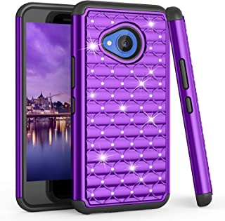 TILL for HTC U11 Life Case, TILL(TM) Studded Rhinestone Crystal Bling Diamond Sparkly Luxury Shock Absorbing Hybrid Dual Layer Rugged Defender Cute Glitter Case Cover for HTC U11 Life 5.2INCH [Purple]