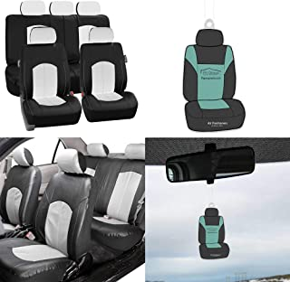 FH Group FH-PU008115 Perforated Leatherette Full Set Car Seat Covers, Airbag & Split Ready, White/Black Color - Fit Most Car, Truck, SUV, or Van