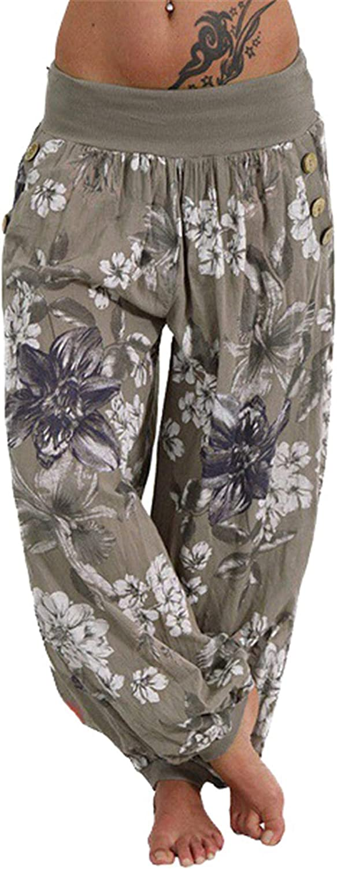Andongnywell Women Elastic Waist Floral Print Drawstring Casual Palazzo Lounge Pants Wide Leg Trousers