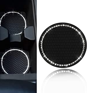 1PCS Bling Car Cup Coaster, Bling Car Accessories 2.75 inch,Rhinestone Anti Slip Insert Coaster, Suitable for Most Car Interior (Black)