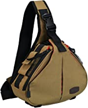 CADeN Camera Bag Sling Backpack Camera Case Waterproof with Rain Cover Tripod Holder, Compatible for DSLR/SLR Mirrorless Cameras (Canon Nikon Sony Pentax) and Accessories Khaki