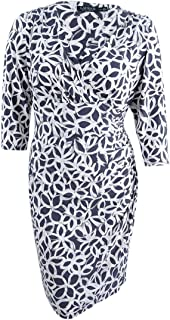 Lauren by Ralph Lauren Petite Print Faux Wrap Jersey Dress (12P, Grey)