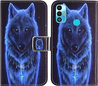 "حافظة TienJueShi Wolf Fashion Stand TPU Silicone Book Stand Flip PU Leather حافظة الهاتف لـ Tecno Spark 7T 6.5"" Cover Etui..."
