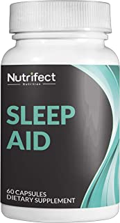 Nutrifect Nutrition Natural Sleep Aid Pills, with Magnesium, 5-HTP, GABA, Melatonin, and L-Theanine for Super Fast Night Time Muscle Recovery, 60 Veggie Caps