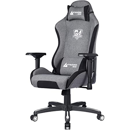 GTRACING Gaming Chair,Fabric Racing Computer Chair,Big and Tall Gaming Chair with 4D Adjustable Arms and Heavy Duty Metal Base,for Office or Gaming(Gray)