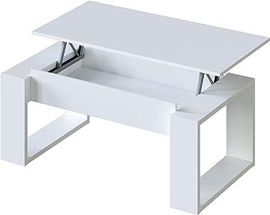 Habitdesign 001643A - Mesa de Centro Elevable, Mesita de Salon, Comedor, Modelo Nova, Acabado en Blanco Artik, Medidas: 105 c