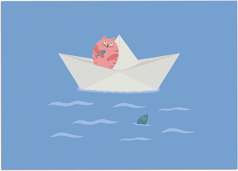 KESS InHouse CB2024ADM02 Cristina Bianco Design Cat & Paper Boat Pink bluee Dog Place Mat, 24 x15