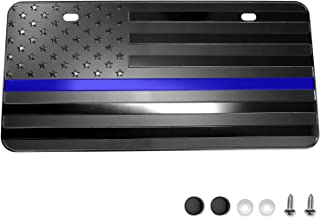 """LFPartS USA American Black Flag Metal Embossed License Plate (12""""x6"""", Black with Thin Blue line)"""
