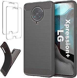 Ttianfa Fodral Case för LG Xpression+,【2x】SkäRmskydd Carbon fiber Bumper ultra tunna 360° helkroppsskydd StöTsäKer Shockpr...