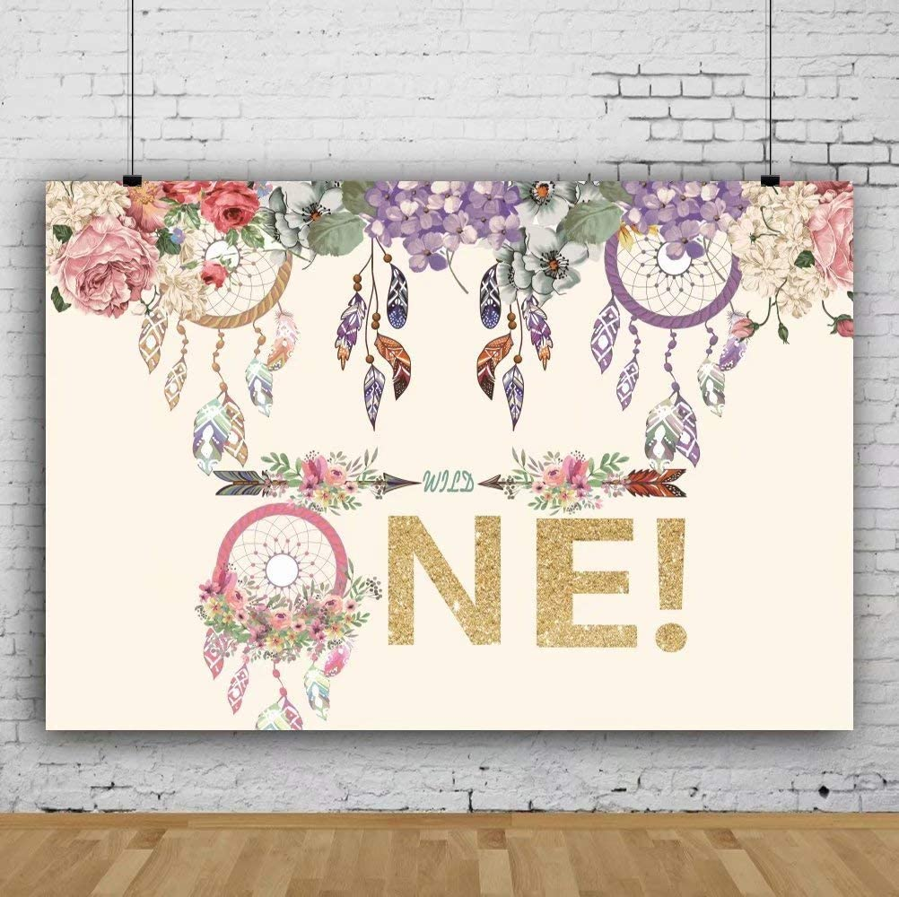 10x12 FT Photography Backdrop Collect Your Happy Dreams Quote with Dreamcatcher and Butterflies Aztec Pattern Background for Baby Shower Birthday Wedding Bridal Shower Party Decoration Photo Studio