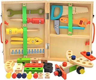 simhoa Wooden Repair Tools Box for Kids Educational Puzzle Toys Assembly Games
