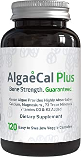 AlgaeCal Plus – Plant-Based Calcium Supplement with Magnesium, Boron, Vitamin K2 + D3 | Increase Bone Strength | All Natural Ingredients | Highly Absorbable | 120 Veggie Capsules per Bottle (1 Pack)