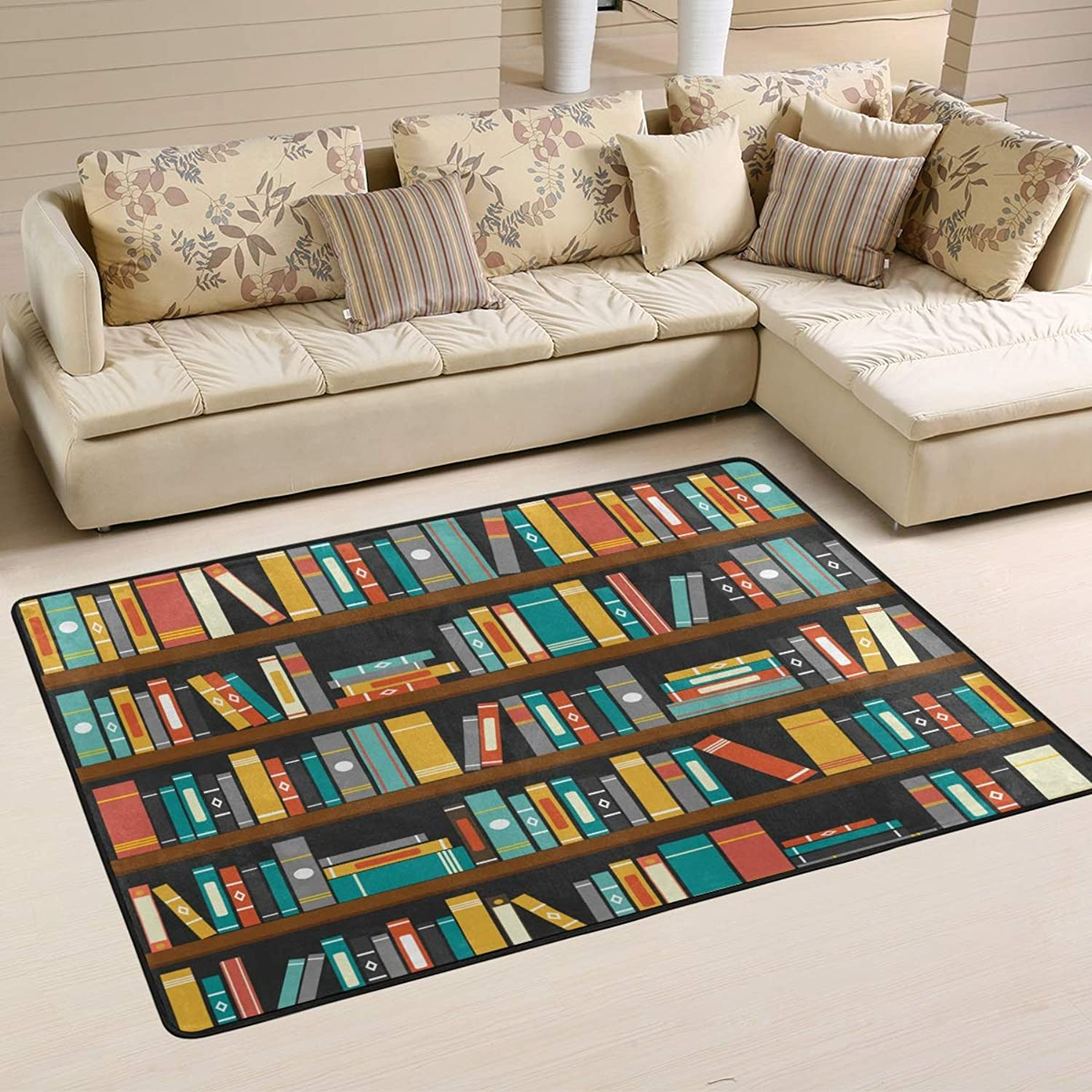 Area Rugs Doormats Library Book Shelf Soft Carpet Mat 6'x4' (72x48 Inches) for Living Dining Dorm Room Bedroom Home Decorative