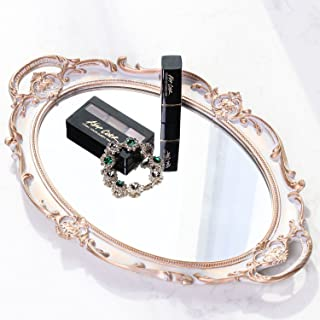 Zosenley Polyresin Ellipse Antique Decorative Mirror Tray, Makeup Organizer, Jewelry..