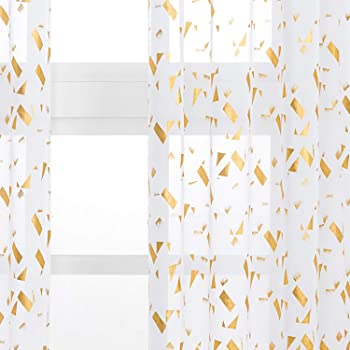 Kotile White Sheer Curtains - Gold Foil Confetti Fluttering Print Rod Pocket Short Sheer Drapes for Bedroom, 52 x 63 Inches, 2 Panels