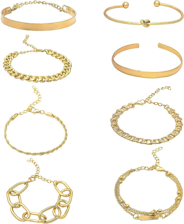 YBMYCM 3-8PCS Chain Link Bracelet for Women, 14K Gold Plated Dainty Adjustable Cuban Bead Bracelets Bangle for Women Girls Jewelry Gifts