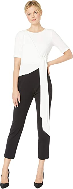 Color Block Knit Crepe Jumpsuit