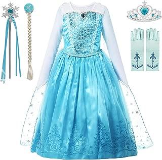 Girls Princess Costume Blue Sequin Cosplay Dress up