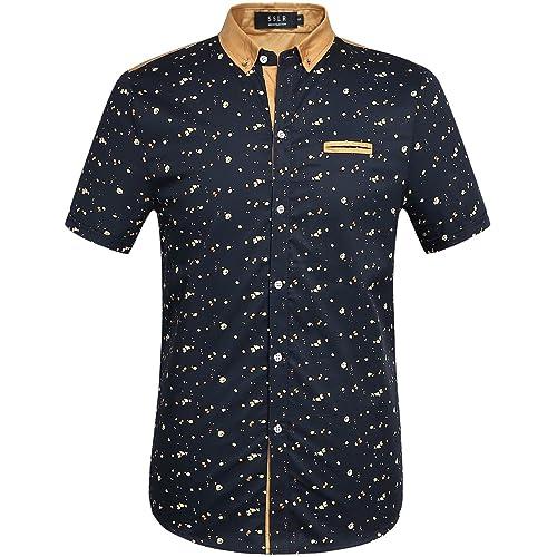 SSLR Men s Printed Button Down Casual Short Sleeve Cotton Shirts 64ceb0d74