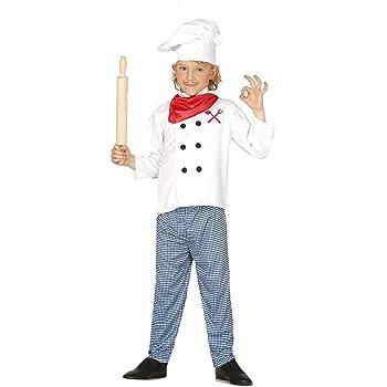 Guirca - Disfraz de cocinero con traje y gorro, para niños de 7-9 ...