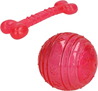 AB Rosewood Pink Puppy Bone and Ball Toy Bundle Small Dog Toy