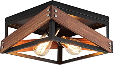 Rustic Industrial Flush Mount Light Fixture Two-Light Metal and Wood Square Flush Mount Ceiling Light for Hallway Living Room