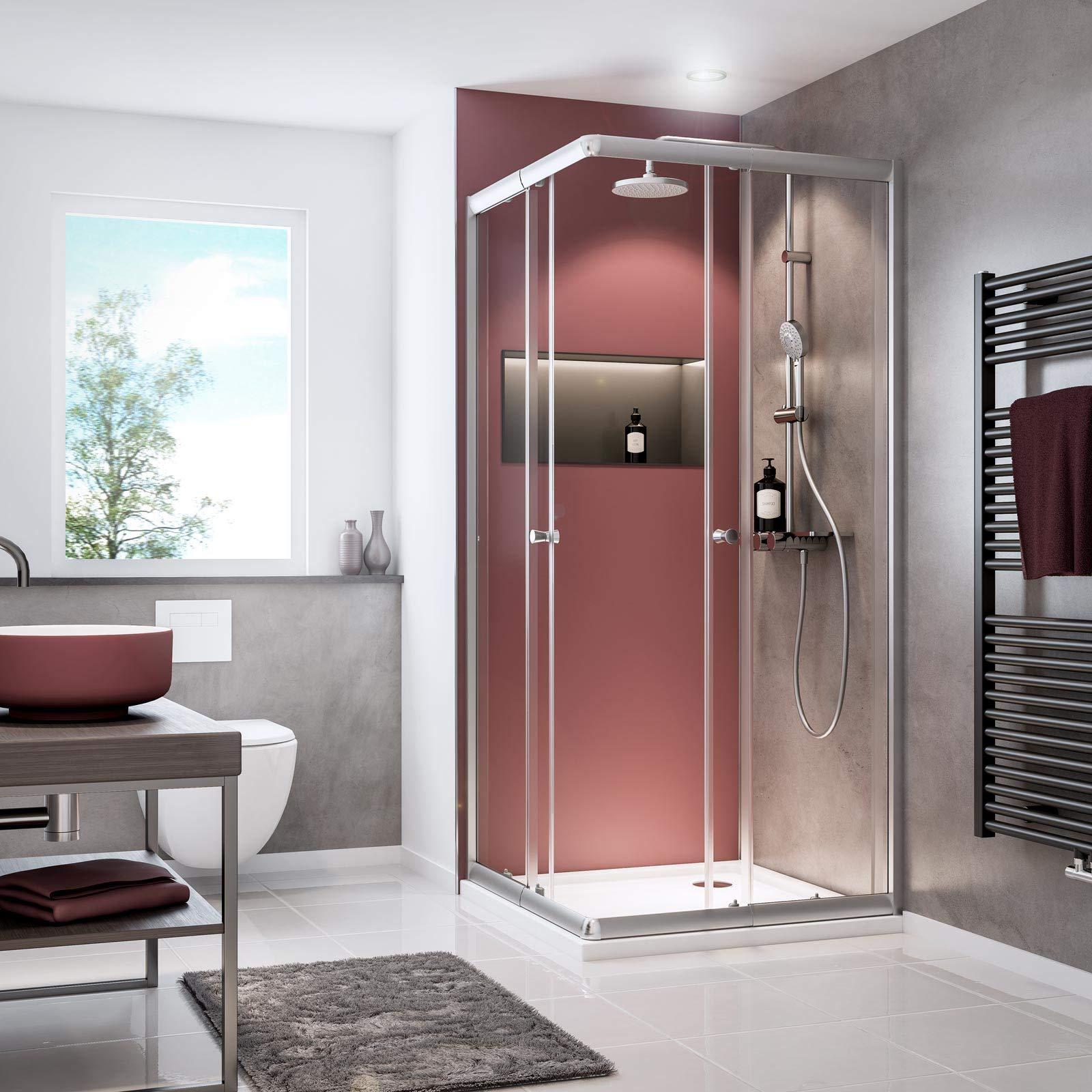 Schulte - Mampara de ducha con puertas correderas, cristal ...