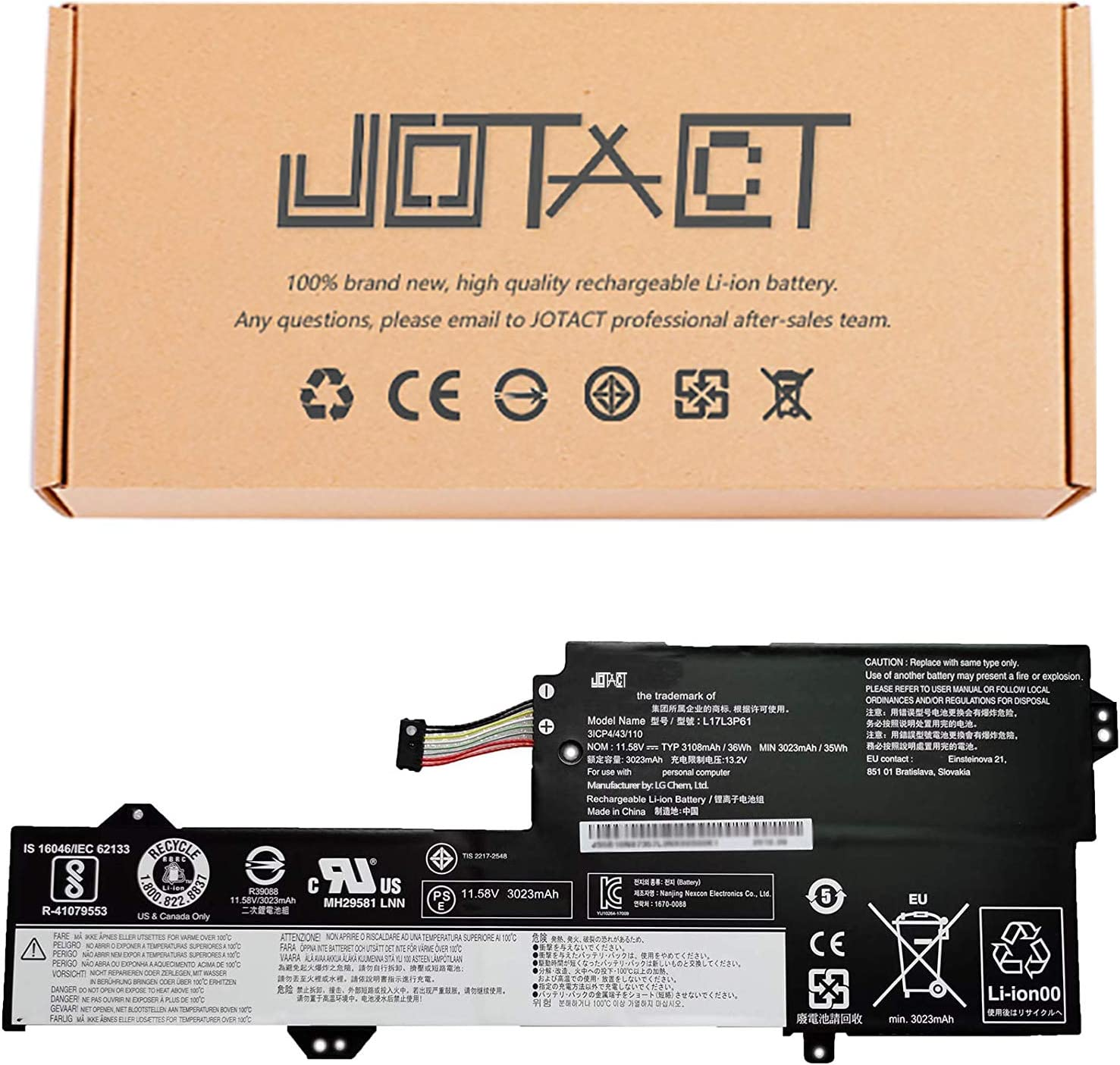 JOTACT L17L3P61(11.58V 36Wh/3108mAh 4-Cell)Laptop Battery Compatible with Lenovo Ideapad Yoga 720-12IKB 330-11IGM 320S-13IKB Xiaoxin7000-13 320-11 Series Notebook 5B10N87357 L17C3P61 L17M3P61 (Type A)