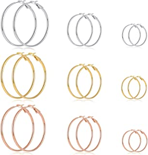 9 Pairs Big Gold Silver Rose Gold Plated Hoop Earrings Set for Women Girls Stainless Steel Hypoallergenic Fashion Jewelry Gift