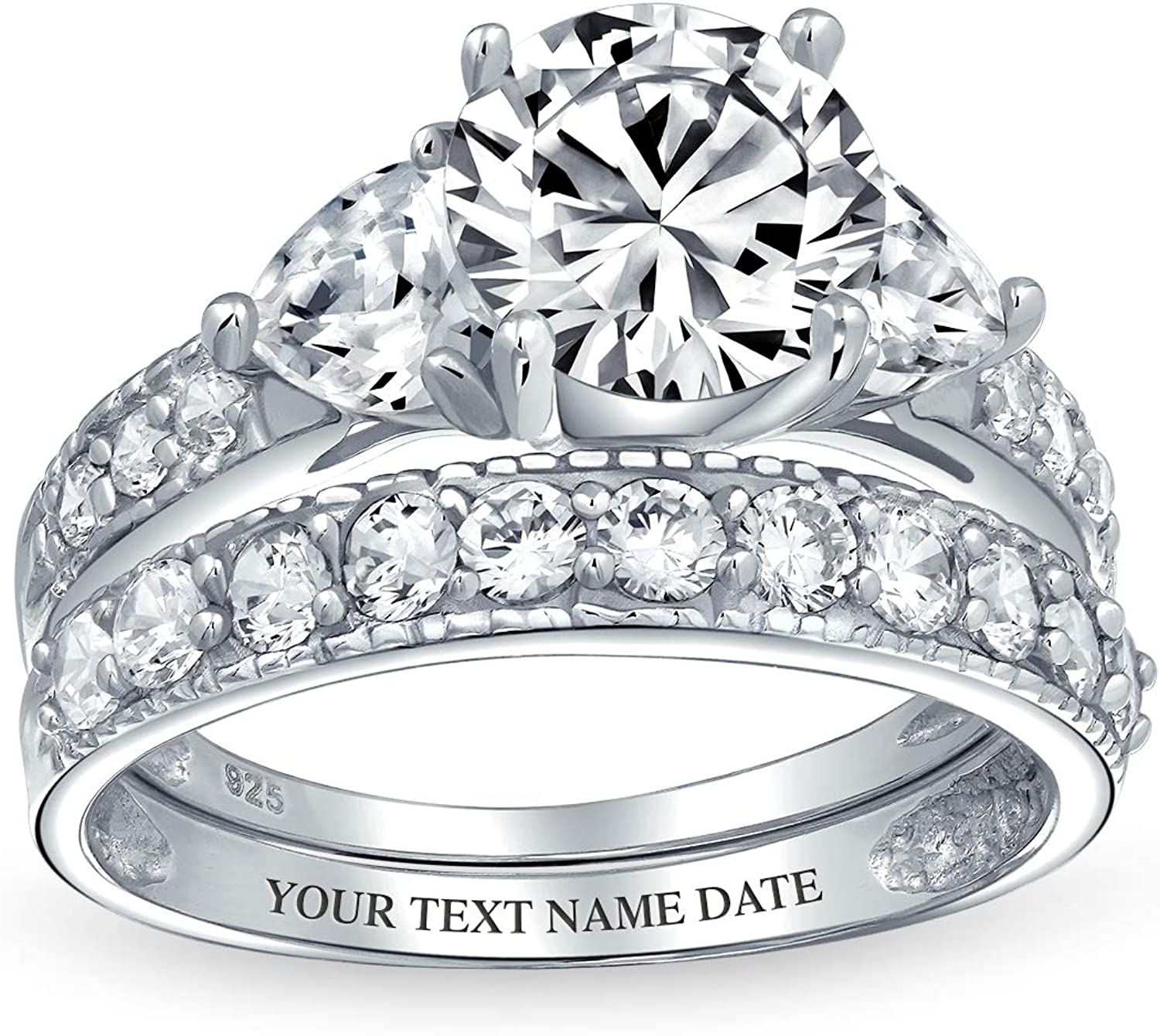 3CT Round Solitaire sale Brilliant Cut Heart Genuine Free Shipping Pave CZ Band AAA Shaped
