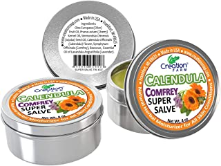Creation Farm Calendula-Comfrey Super Salve - 3 Pack Large 4 oz Tins -Calendula Ointment - Caléndula Consue...
