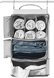 Hanging Portable Luggage Suitcase Closet Shelving Organizer w/ hooks  For Travel, Camper, RV  Packing Cube(Grey)
