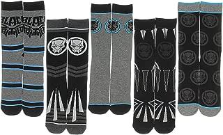 Black Panther Marvel Comics Movie Character Costume Adult Crew Socks 5 Pair